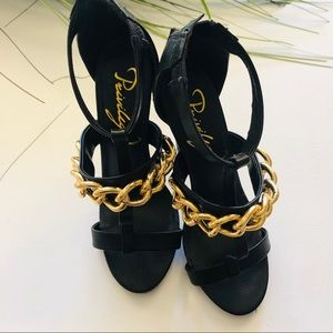 Privileged black heeled sandal size 8